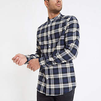 River Island Mens Blue check grandad collar shirt