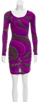 Emilio Pucci Printed Ruched Dress Violet Printed Ruched Dress