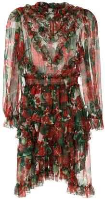 Dolce & Gabbana hydrangea ruffled sheer dress