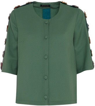 Manley Tabby Silk & Leather Embellished Jacket Green