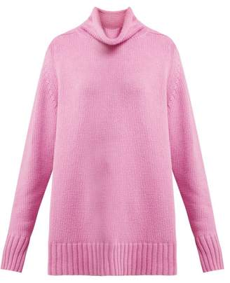 Joseph Sloppy Joe Roll Neck Cotton Blend Sweater - Womens - Light Pink