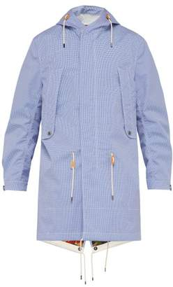 Junya Watanabe Checked Water Repellent Cotton Hooded Raincoat - Mens - Blue Multi