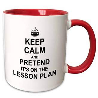 3dRose Keep Calm and Pretend its on the Lesson Plan - funny teacher gifts - teaching humor - humorous fun - Two Tone Red Mug, 11-ounce
