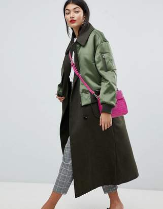 ASOS Coat with Bomber Detail $166 thestylecure.com