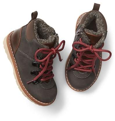 Faux-leather hiker boots