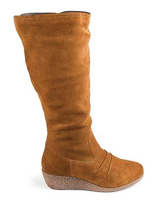 Jdw Leather Wedge Boots E Fit Standard Calf