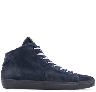 Leather Crown perforated logo hi-top sneakers