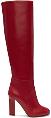 Victoria Beckham Red Leather Tall Boots
