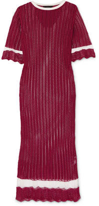 Joseph Mesh-paneled Pointelle-knit Midi Dress - Burgundy