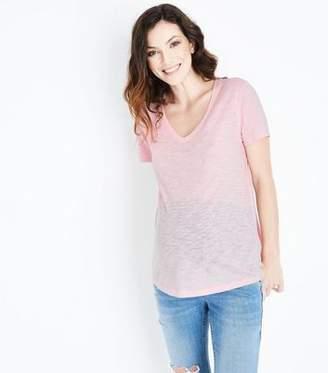 New Look Maternity Pink Organic Cotton V Neck T-Shirt