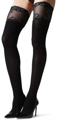 Natori Feathers Opaque Stay-Up Thigh Highs