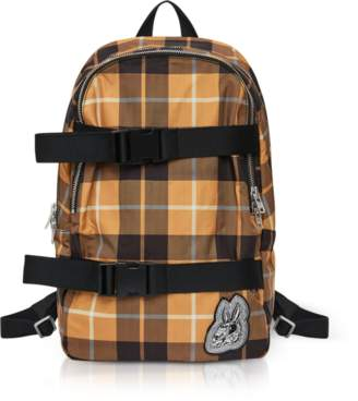 McQ Bunny Skater Yellow Tartan Nylon Clip Backpack