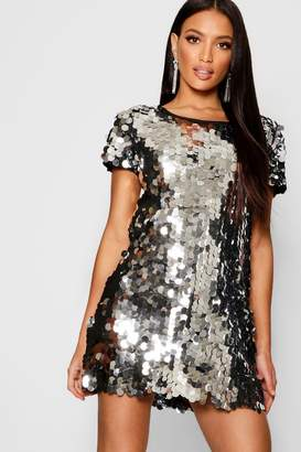 boohoo Boutique Disc Sequin Cap Sleeve Shift Dress