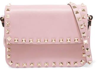 Valentino Garavani The Rockstud Leather Shoulder Bag - Antique rose