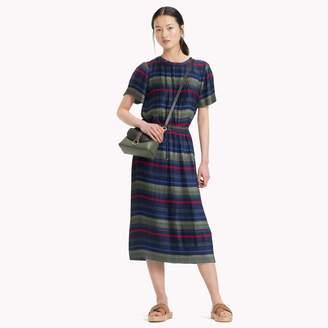 Tommy Hilfiger Pleated Stripe Midi Skirt