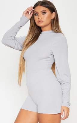 PrettyLittleThing Ice Grey Ribbed Balloon Sleeve Playsuit
