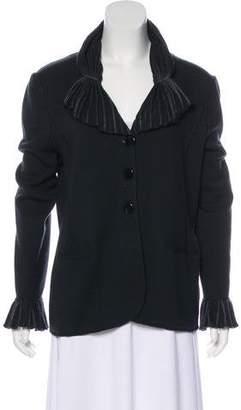 Armani Collezioni Pleat-Accented Wool Cardigan