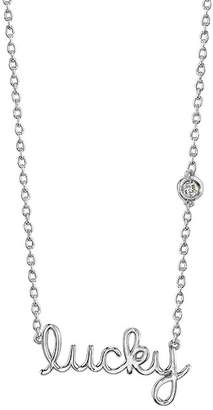 Sydney Evan Syd by Sterling Silver Diamond 'Lucky' Pendant Necklace - 0.015 ctw