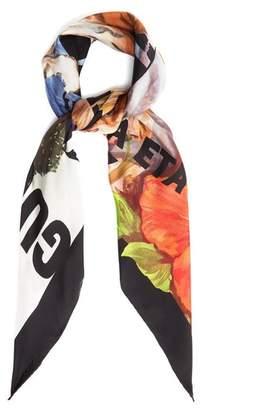 Gucci Tiger Print Silk Twill Scarf - Womens - Black