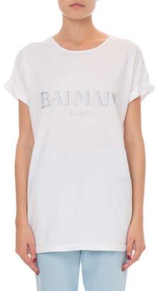 Balmain Short-Sleeve Strass Logo Tee