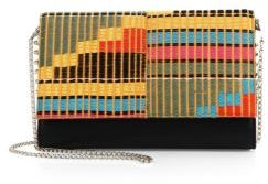 Christian Louboutin  Christian Louboutin Paloma Convertible Africube Embroidered Leather Clutch