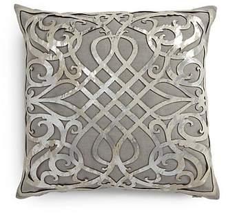 Callisto Home Charlotte Laser-Cut Leather Overlay Linen Pillow