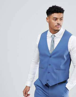 Asos Design Skinny Suit Waistcoat In Cornflour Blue