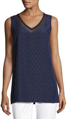 St. John Collection Textured Chevron-Stripe V-Neck Shell, Navy $495 thestylecure.com