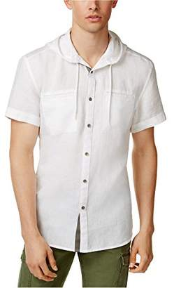 Kenneth Cole Reaction Men's Short Sleeve Hooded Linen Woven Shirt