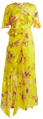 Preen by Thornton Bregazzi Nickesha Floral Print Satin Devore Dress - Womens - Yellow Multi
