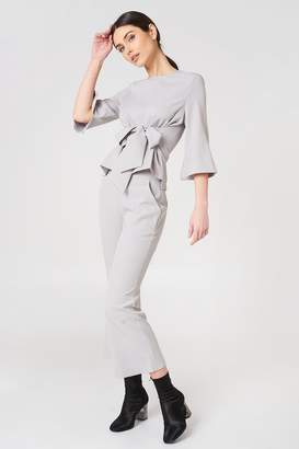 boohoo Tie Front Top and Flare Trouser Set Grey