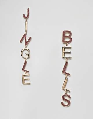 Asos DESIGN Holidays earrings in jingle bells letters