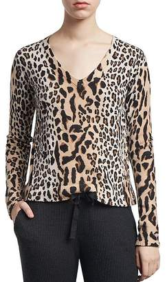 ATM Anthony Thomas Melillo Mixed Leopard Print V-Neck Sweater