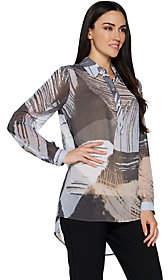 Susan Graver Printed Sheer Chiffon Shirt withHi-Low Hem
