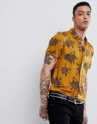 Asos Design Regular Fit Viscose Floral Print Shirt