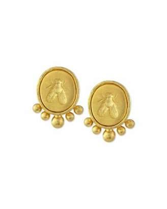 Elizabeth Locke Small Bee 19K Gold Button Earrings
