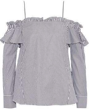 Rebecca Vallance The Parker Off-The-Shoulder Striped Cotton-Blend Shirt