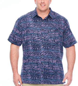 Van Heusen Air Poly Prints Short Sleeve Floral Button-Front Shirt-Big and Tall