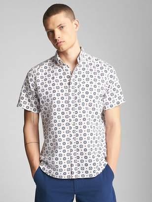 Gap Standard Fit Short Sleeve Shirt in Linen-Cotton