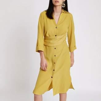 River Island Womens Dark yellow twist front midi shirt dress