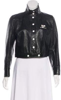 Courreges Faux-Leather Cropped Jacket