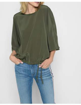 7 For All Mankind Drawstring Oversized Tee In Dark Cactus