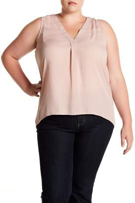 14th & Union Pleat Front V-Neck Blouse (Plus Size)