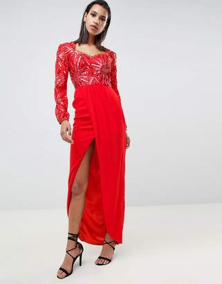 Virgos Lounge darline embellished sweetheart maxi dress with thigh split in red