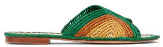 Carrie Forbes - Salon Raffia Slides - Womens - Green Multi