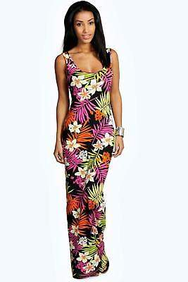boohoo NEW Womens Tropical Scoop Neck Maxi Dress in Polyester