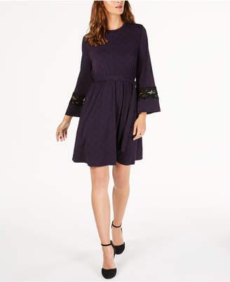 Michael Kors Printed Lace-Trim Dress