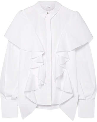 Thierry Mugler Ruffled Cotton-poplin Shirt - White
