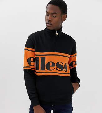 Ellesse Panel Logo Sweatshirt With 1/4 Zip In Black