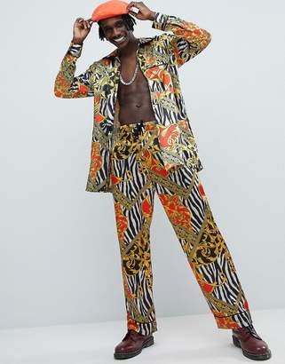 Jaded London Zebra Baroque Printed Pajama Pants